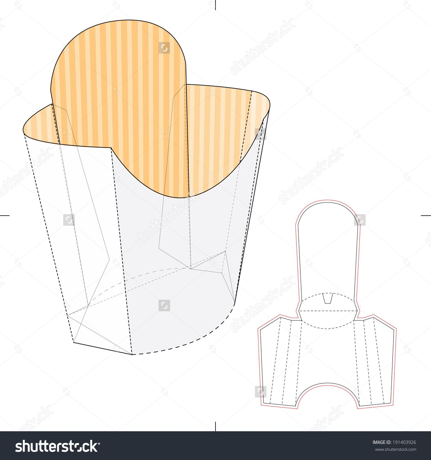 french fries disposable paper box with die cut layout stock vector