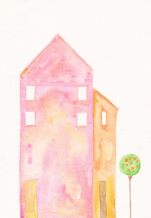 Art Watercolor Painting Little House Children Room Decoration Pink And Orange Free Shipping 47 00 Via Etsy