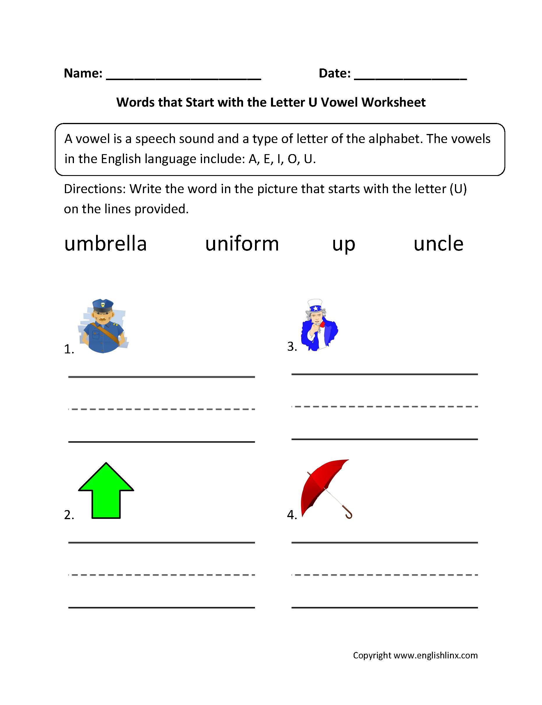 Words Start Letter U Vowel Worksheets  EnglishlinxCom Board
