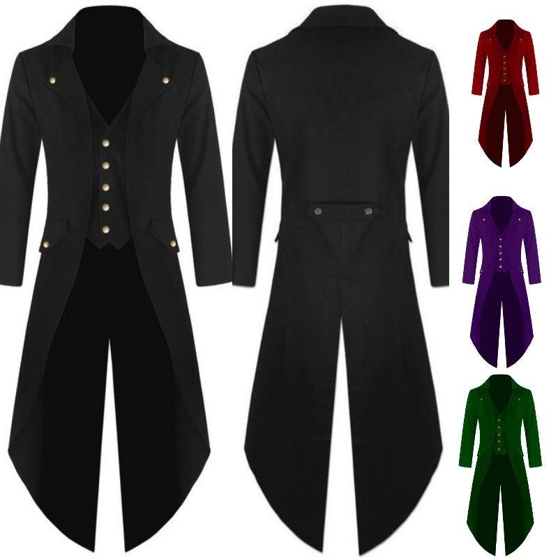 Punk Rave Mens Gothic Frock Jacket Tailcoat Black Brocade Steampunk Vampire VTG