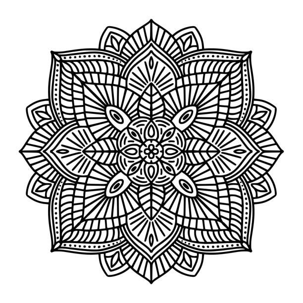 Black and white floral ethnic mandala, on white background, vector…