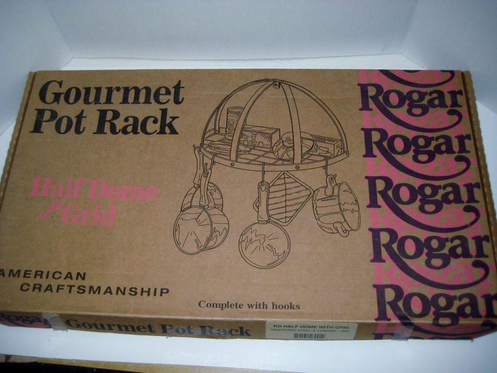 Rogar Gourmet Pot Rack Hammered Steel Half Dome 3901 W Grid & Hangers IOB #Rogar