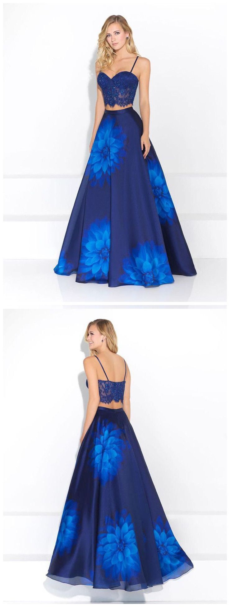 Two pieces prom dress aline royal blue floral lace long prom