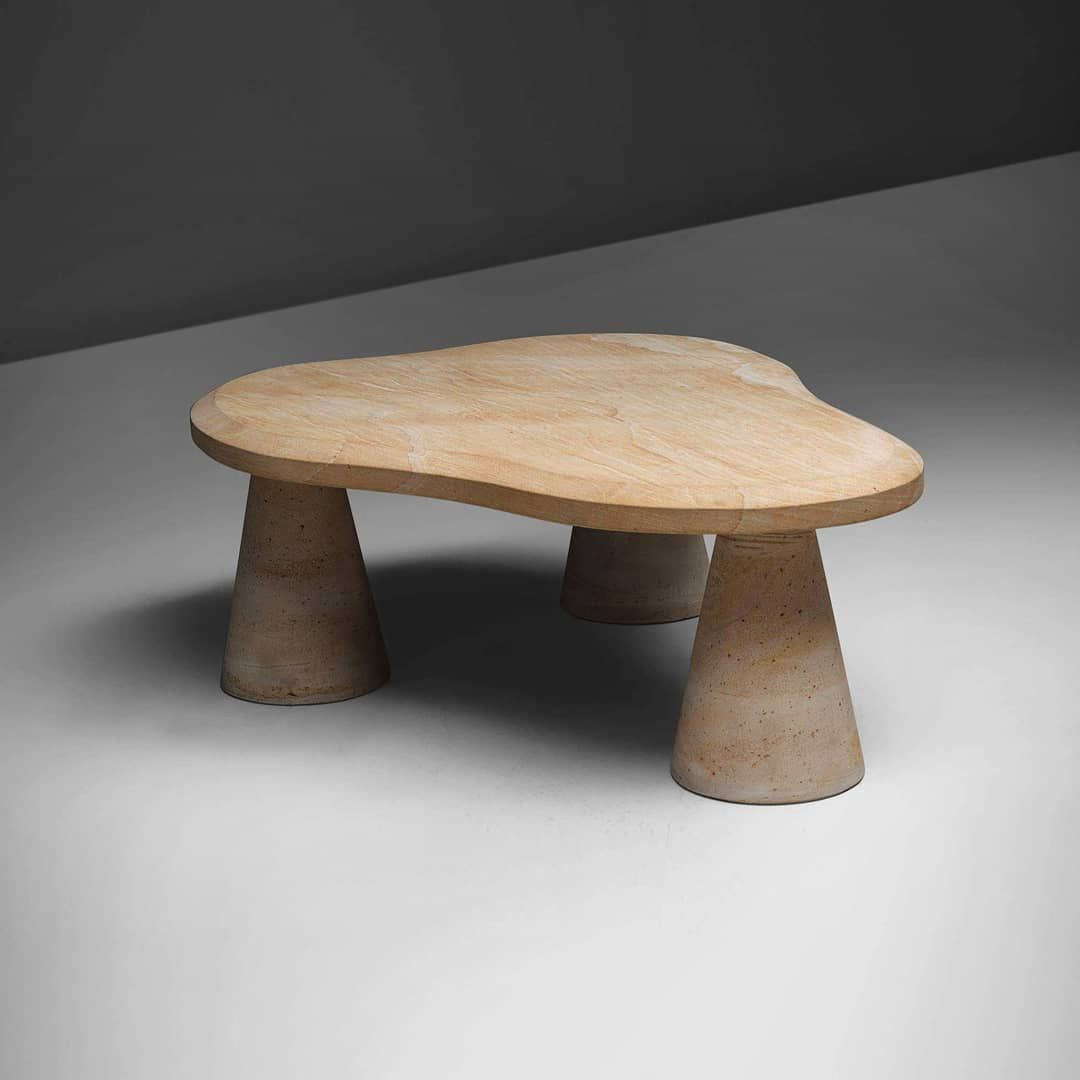 Post Modern Coffee Tables: Post- Modern Sandstone Coffee Table From Italy, Ca. 1970s