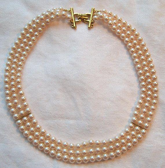 Vintage Richelieu Triple Strand Faux Pearl Necklace In 2019