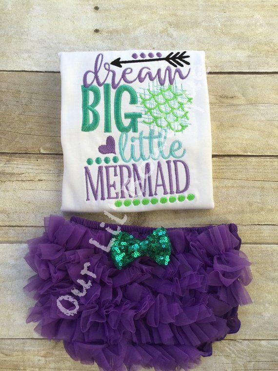 811ccbaf75a1 Mermaid Outfit - Mermaid Birthday - Dream Big Little Mermaid - Ruffle  Bloomers - Mermaid -Girls - Ba