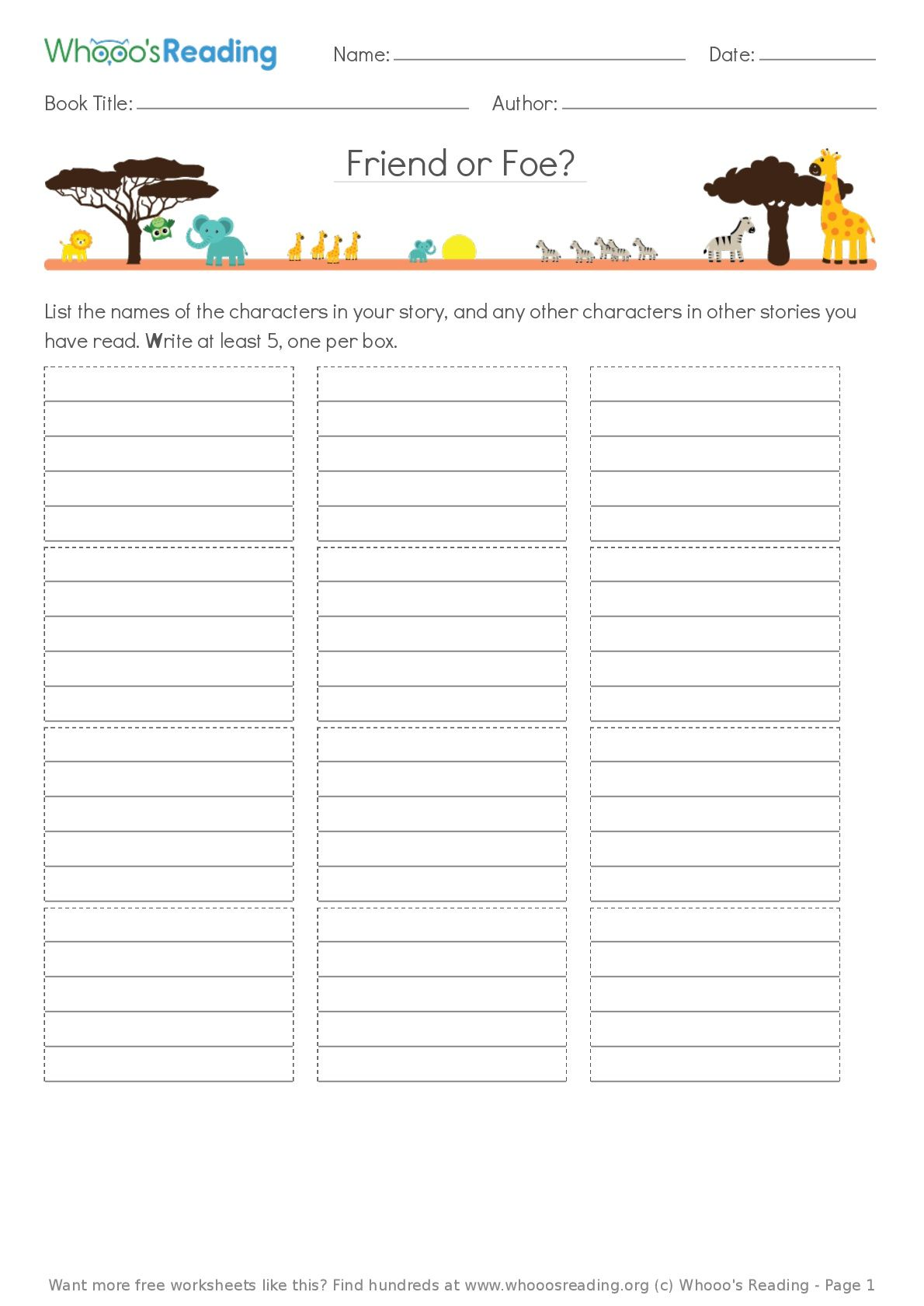 Grades K 1 Students Will List As Many Characters From