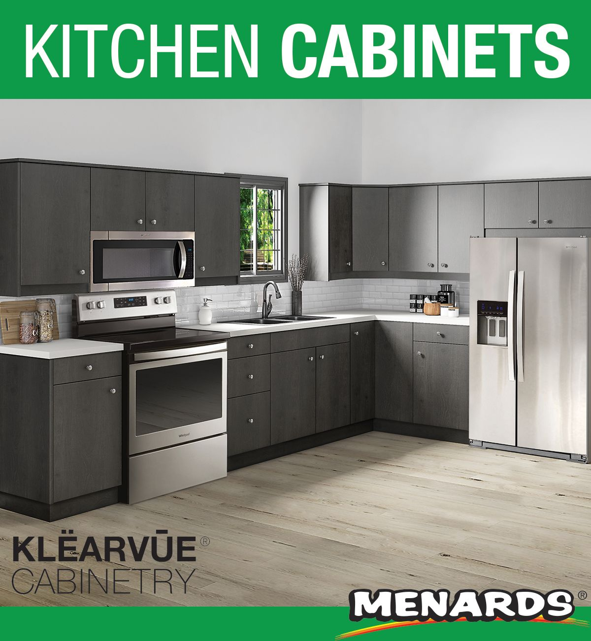 Klearvue Varsta Charcoal L Shaped Kitchen W 10 Cabinet Cabinets Only In 2020 Menards Kitchen Unfinished Kitchen Cabinets Kitchen