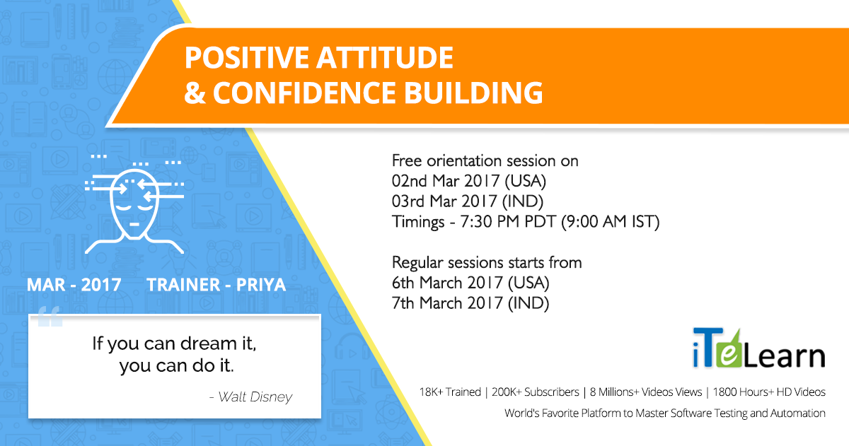 Dedicate yourself to accepting compliments gracefully and without any backtalk on the part of your mind. Learn the art of #PositiveThinking and #MindBlowing association.   Click here to know more: http://itelearn.com/event/positive-attitude-and-confidence-building-training/