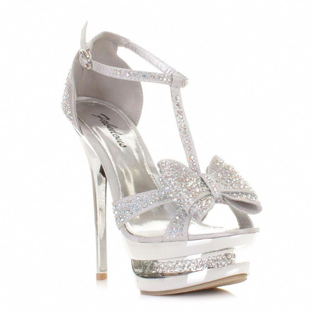 38f289f07ac4f WOMENS HIGH HEEL PLATFORM STILETTO DIAMANTE SILVER BOW PROM PARTY SHOE SIZE  3-8