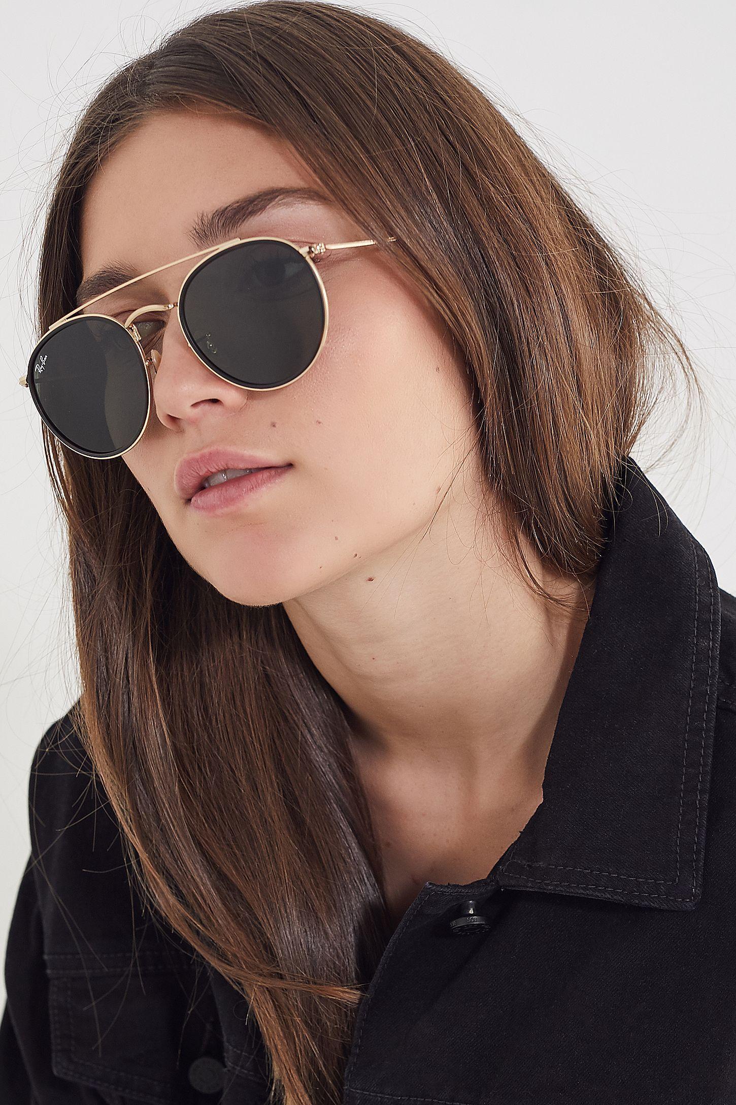 c6c84c987 Ray-Ban Round Double Bridge Sunglasses | Hair ideas | Round ray bans ...