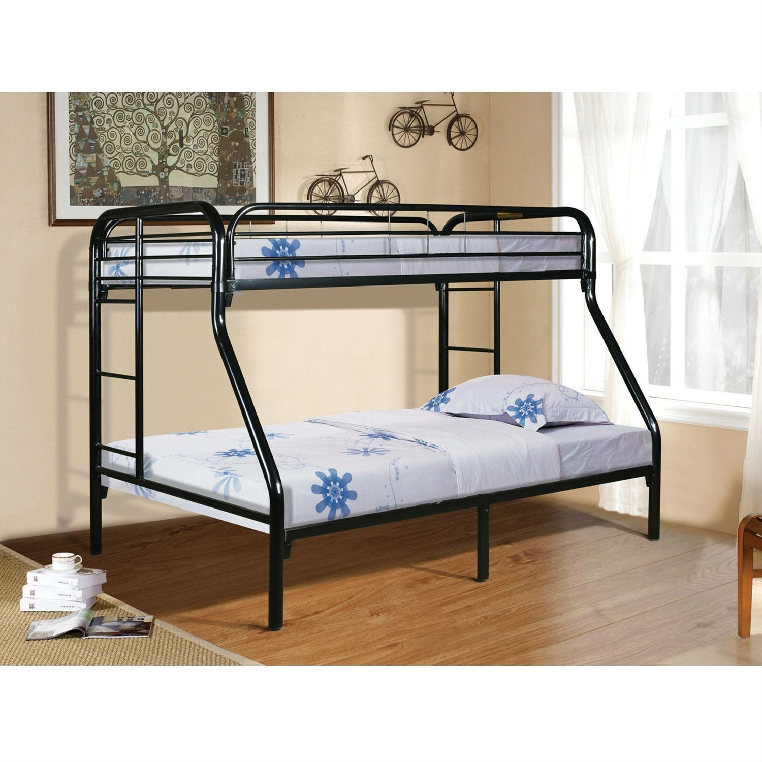 Twin over Full size Sturdy Black Metal Bunk Bed with