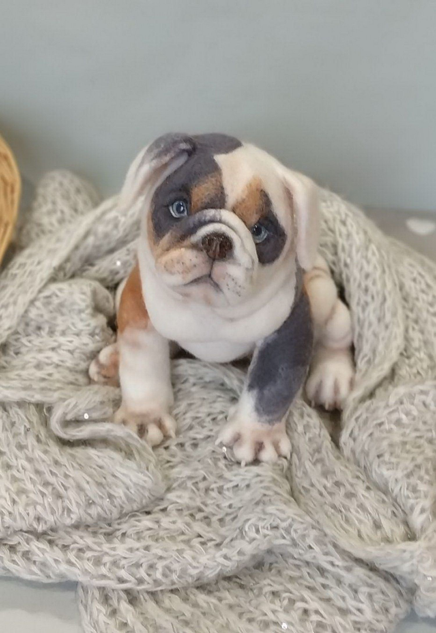 Tricolor Puppy English Bulldog Sold 9 Inches Realistic Toy Dog