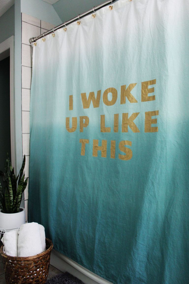 So Into This DIY I Woke Up Like Beyonc Inspired Statement Watercolor Ombre Shower Curtain