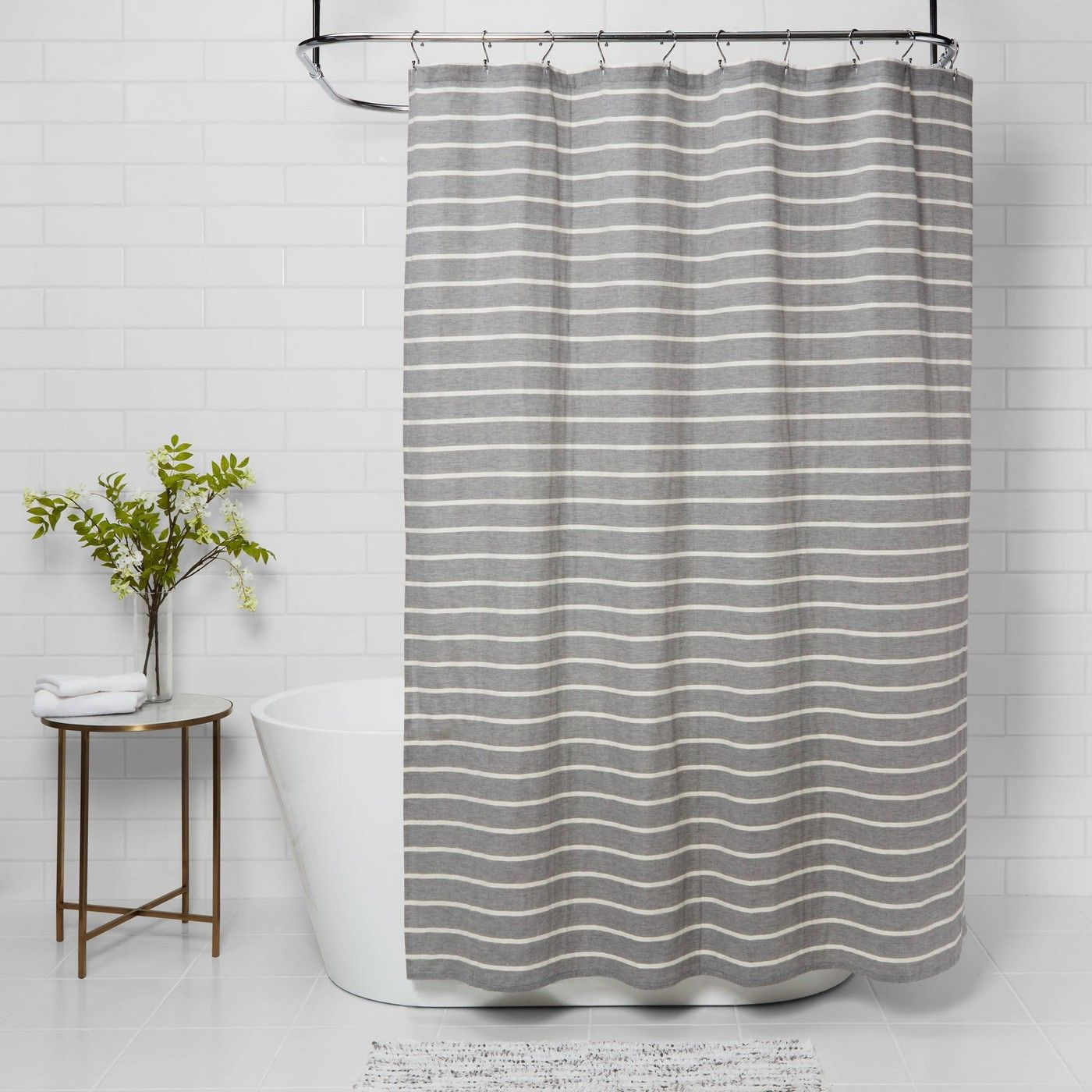 Stripe Shower Curtain Threshold In 2020 Striped Shower Curtains Scandinavian Shower Curtains Shower Curtain Decor
