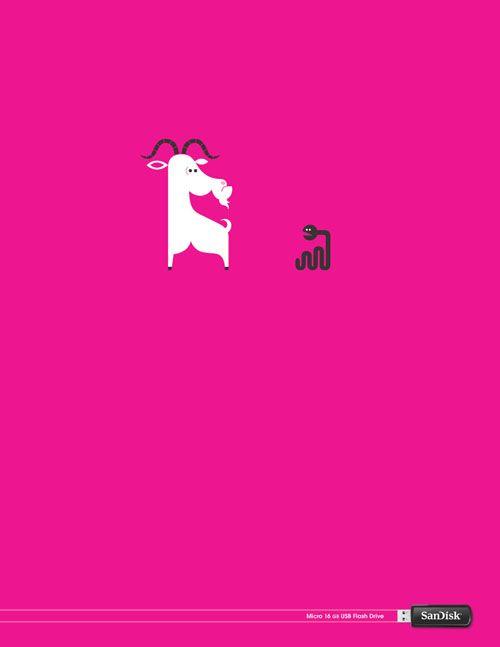 Goat in a Snake -   Cool Sandisk Poster Ads