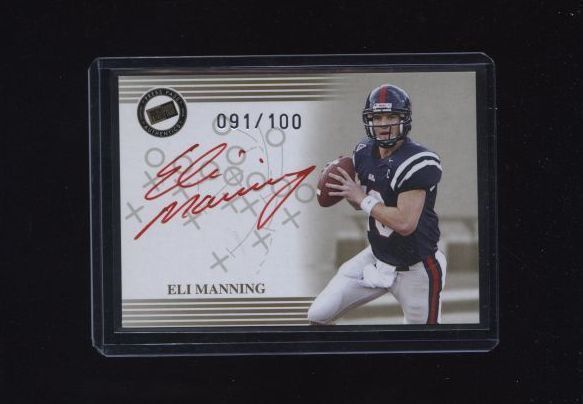 2004 PRESS PASS ELI MANNING RED INK AUTOGRAPH 091/100