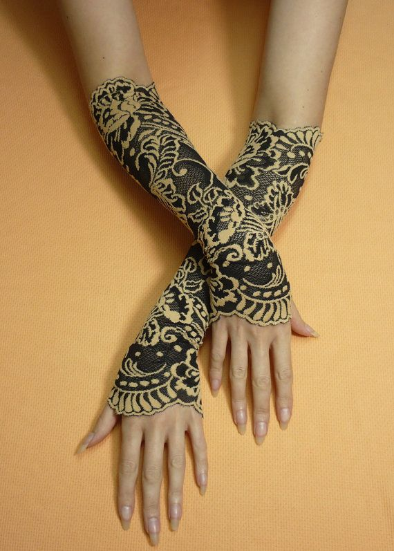 Gothic Black and Beige Fingerless Lace Gloves Retro by estylissimo, $22.00