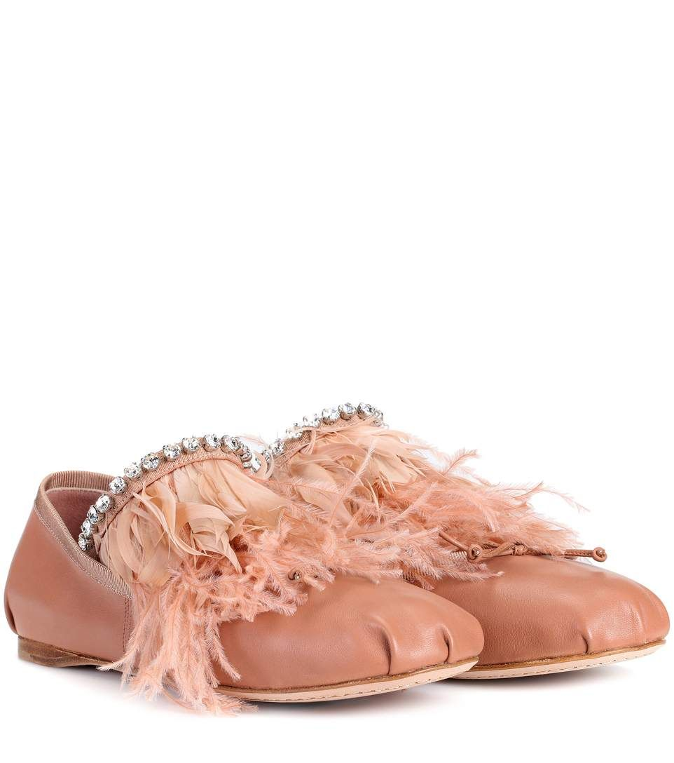 Miu Miu Feather-trimmed ballerinas sB4IvRw2M