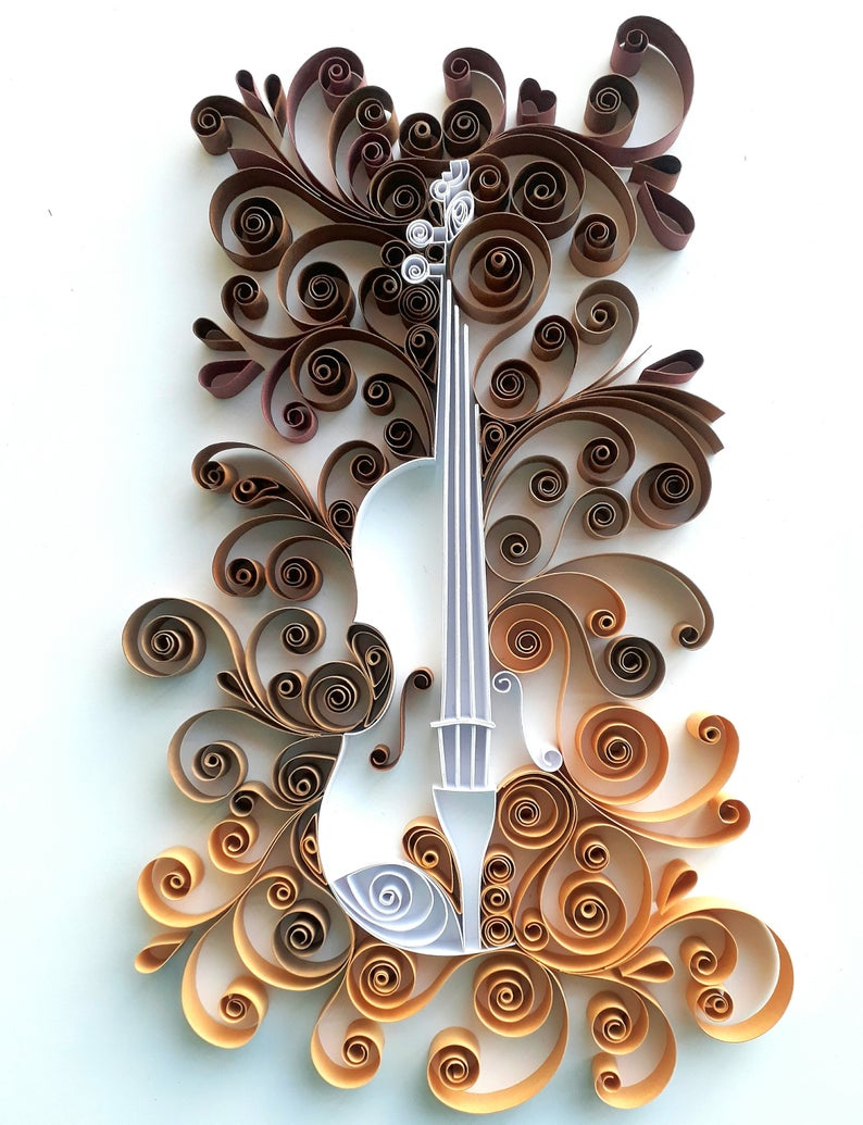 Multicolored violin - quilling paper art