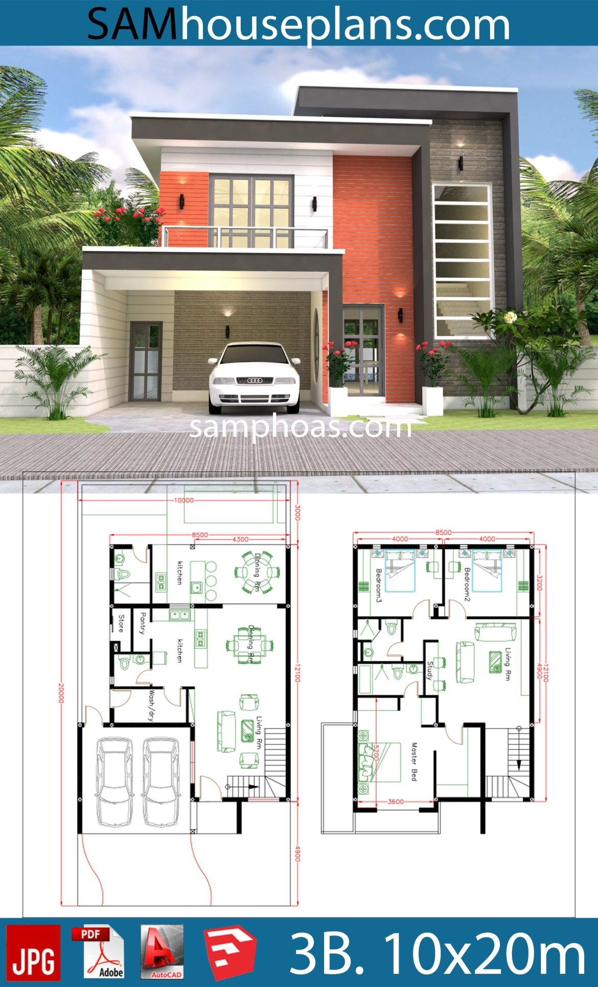 3d House Design Plans With 3 Bedrooms Plot 10x20m Samphoas Plansearch Duplex House Design Duplex House Plans House Layouts