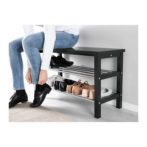 TJUSIG Bench with shoe storage white  sc 1 st  Pinterest & TJUSIG Bench with shoe storage white | Bench Storage and Living ...