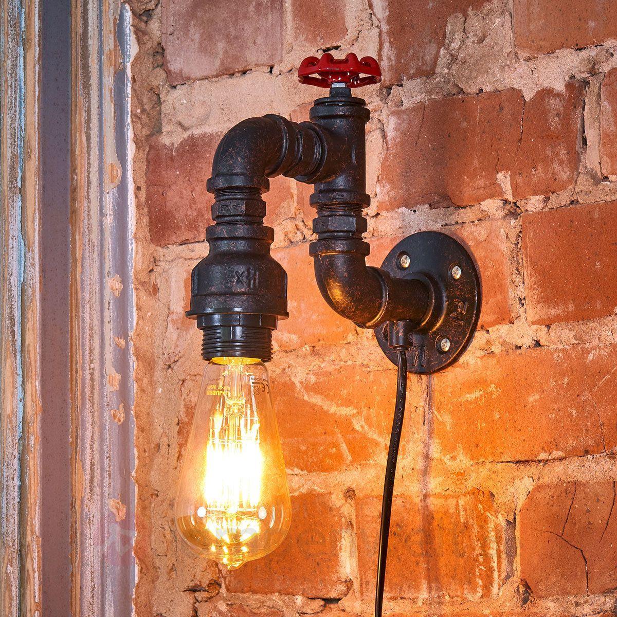 Wandlampe Tap Wasserhahn Wasserrohr 1-flammig Wandleuchte Antik Vintage Loft E27