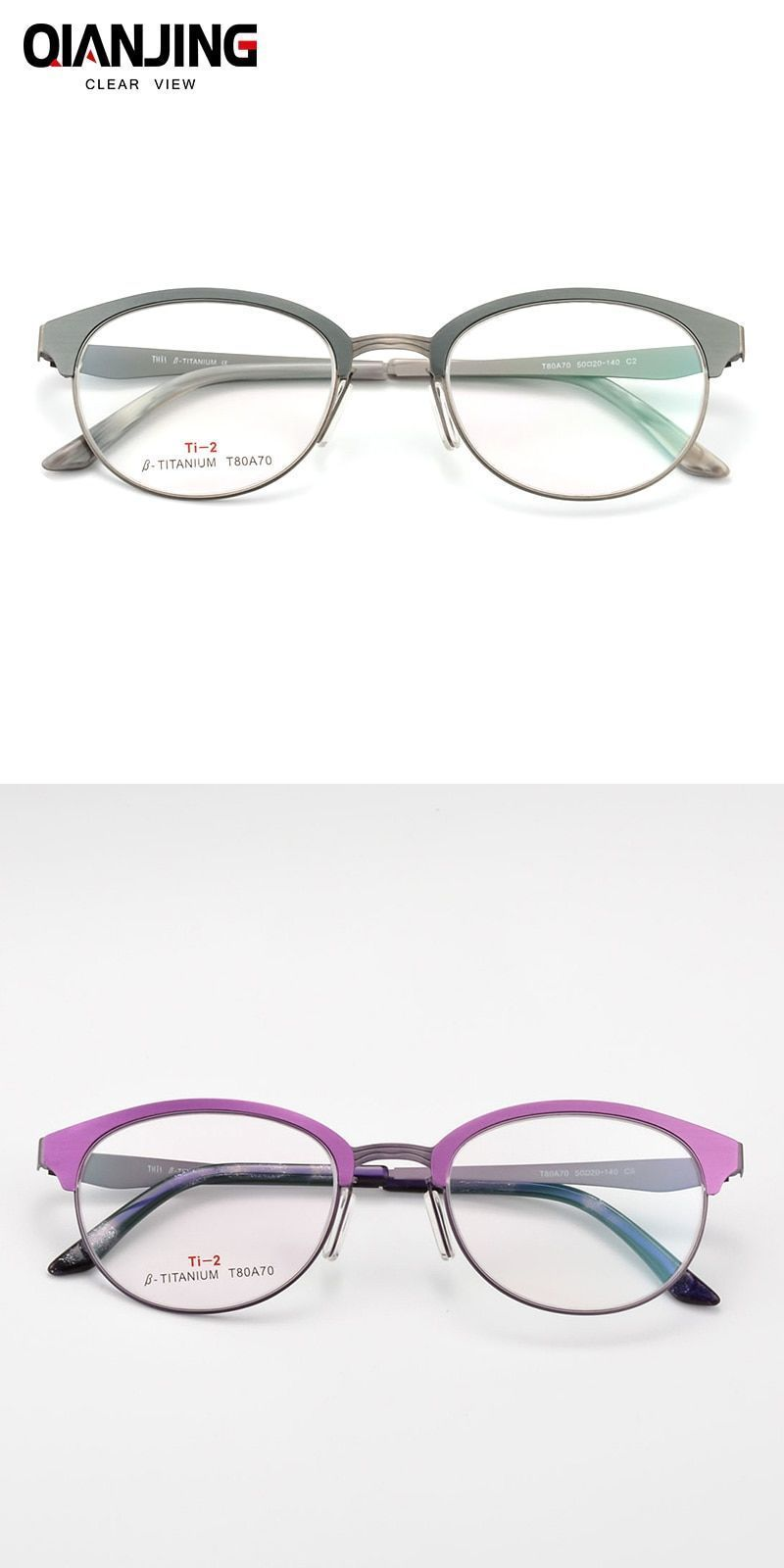 3e61ce0ef36 Qj titanium glasses frame women brand designer female vintage round  prescription eyeglasses full myopia optical frames eyewear  frames  eyewear   accessories ...