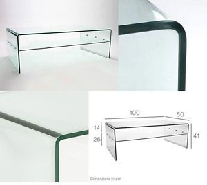 CLEAR GLASS COFFEE TABLE CURVED END LIVING DINING ROOM BENT EDGE MODERN