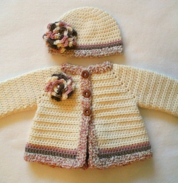 Photo of Crocheted Baby Girl's Sweater and Hat Set Crocheted Baby Jacket and Hat Set Baby Girl's Crocheted Sweater Baby Girl's Hat Baby Girl Layette