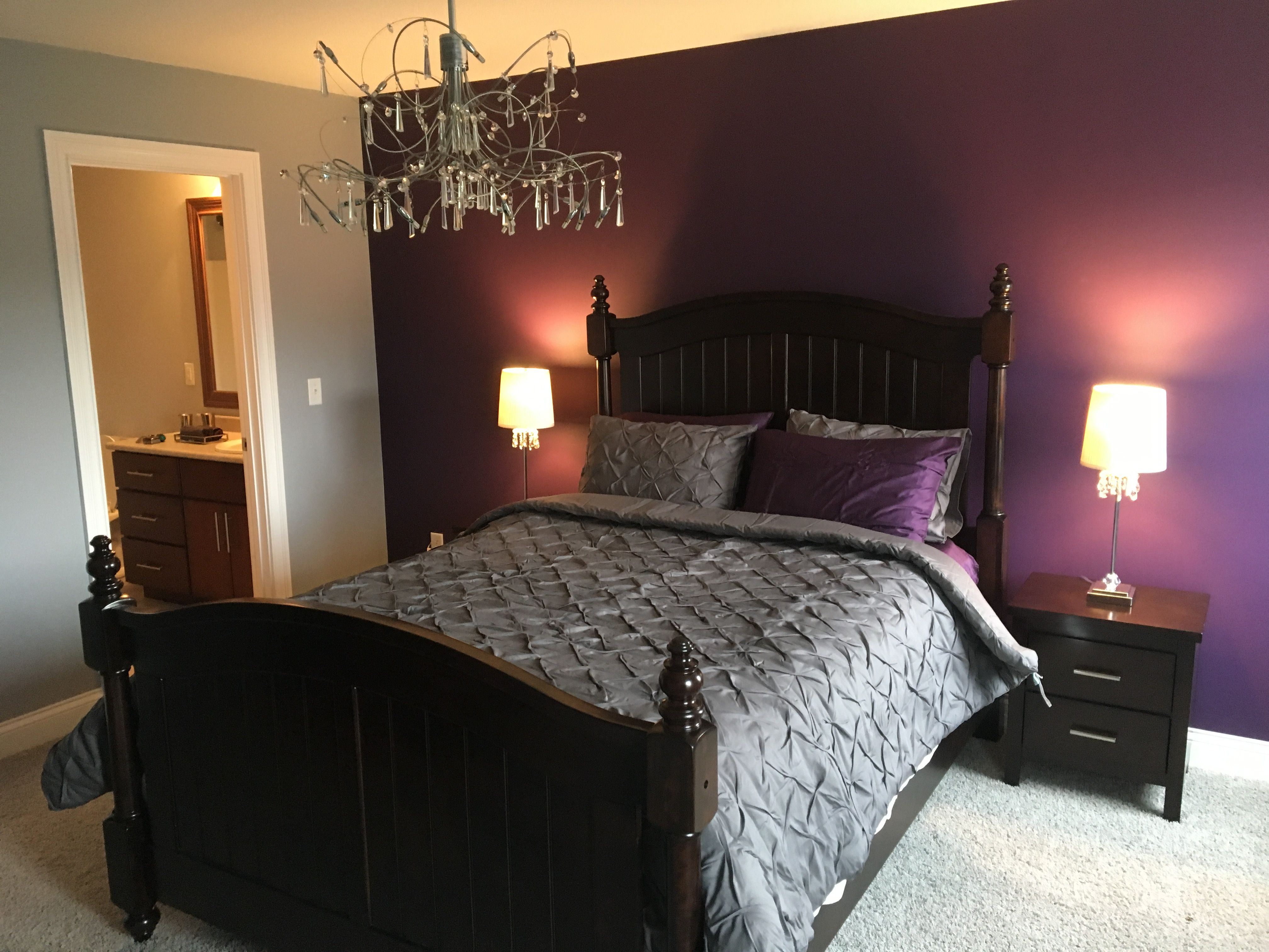 Purple Rain accent wall Benjamin Moore  Purple bedroom decor