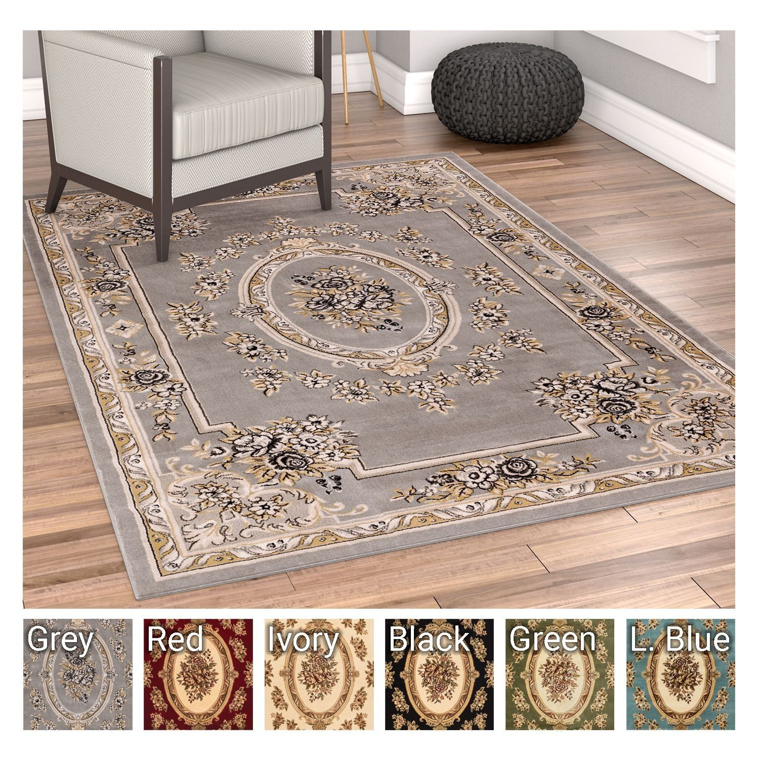 Rug European Formal Traditional Area X Easy Clean Stain Fade Resistant Shed Free Modern Classic Contemporary Thick Soft Plush Living Dining Room