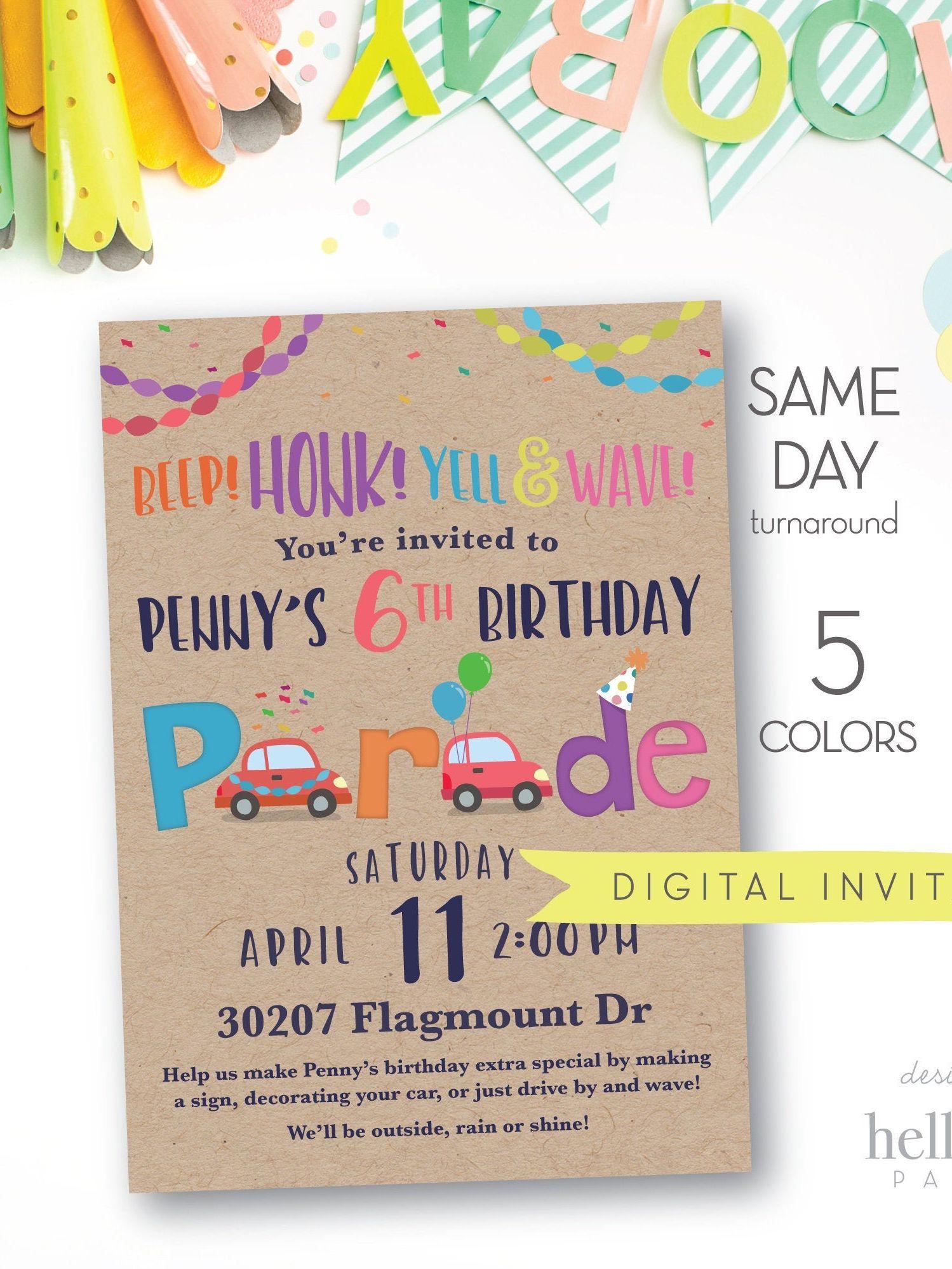 drive by birthday car parade invitation