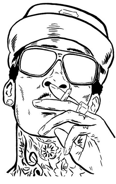 Wiz Khalifa Poster Sketch Pop Art Drawing Rapper Art Tupac Artwork