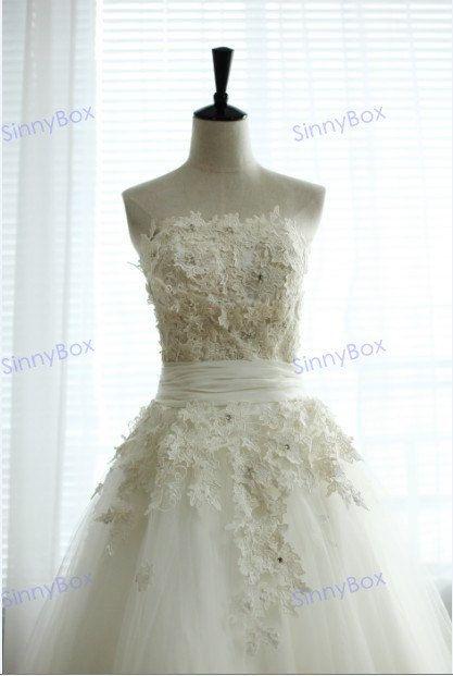 Strapless Ball Gown Embossed Flowers Wedding Dress with Tull Cute ...