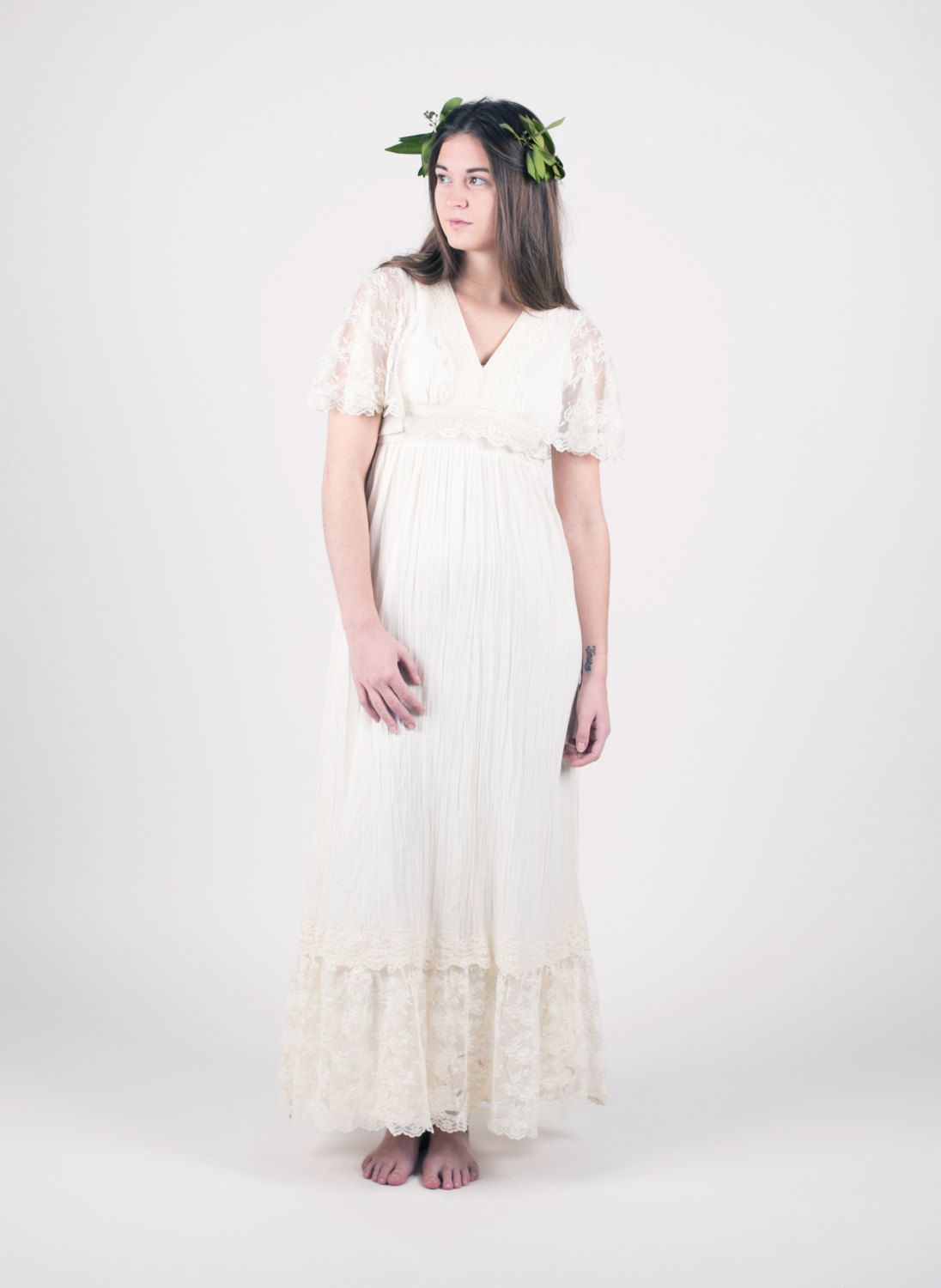 S prairie dress cream lace maxi dress boho wedding dress