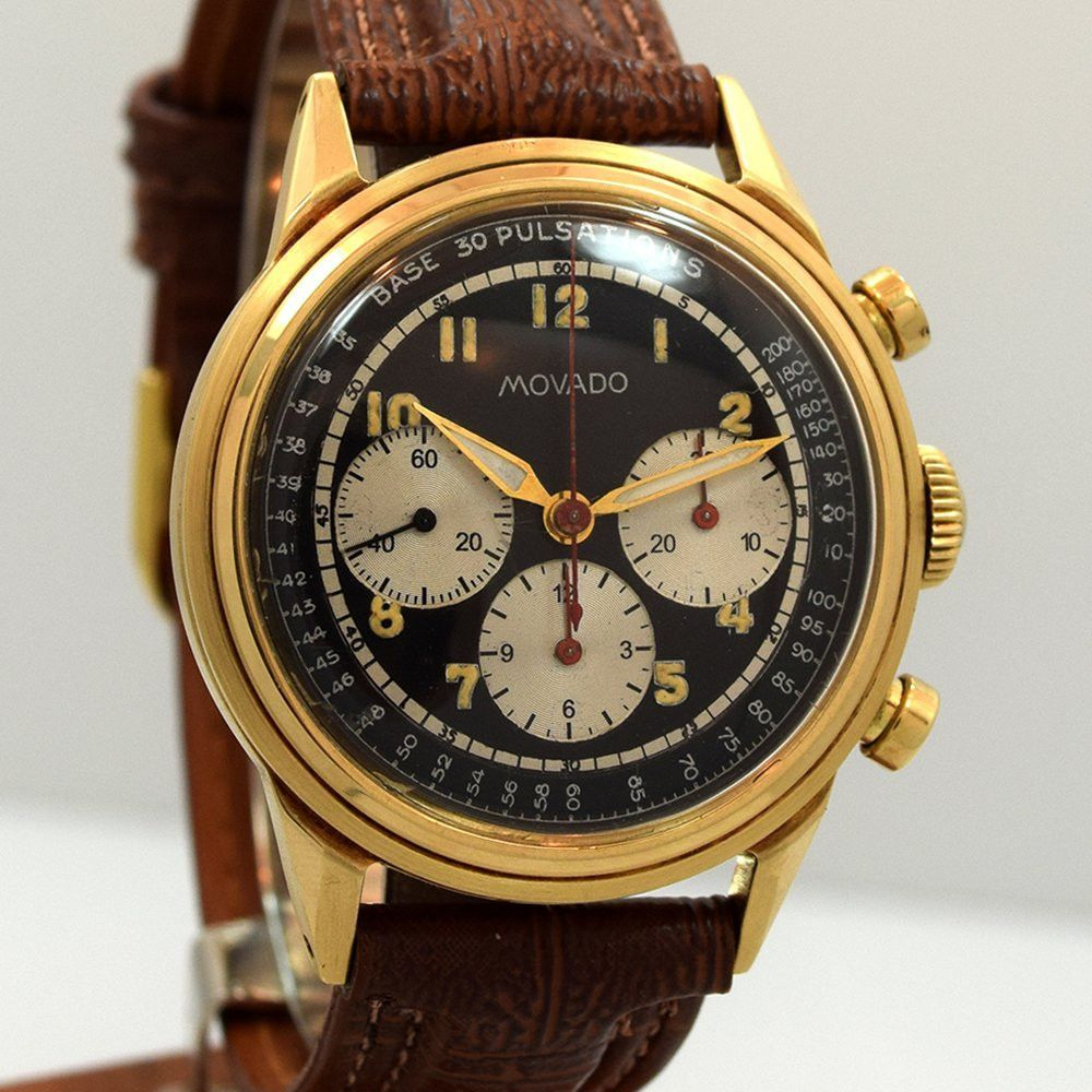 Vintage Movado 3 Register Chronograph Yellow Gold watch with Black Dial  with Luminous Arabic Numbers. Swiss Case Very Good Case Original, Case  Dimensions: x ...