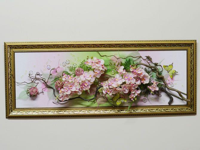 Картина из цветов искусственных