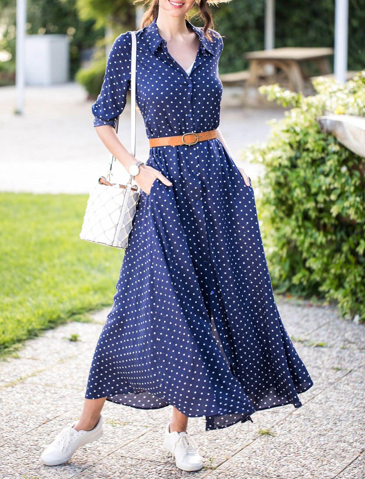 Women S Long Sleeved Polka Dot Dress Victoriaswing Maxi Dress Cotton Polka Dot Maxi Dresses Maxi Dress With Sleeves [ 1574 x 1200 Pixel ]