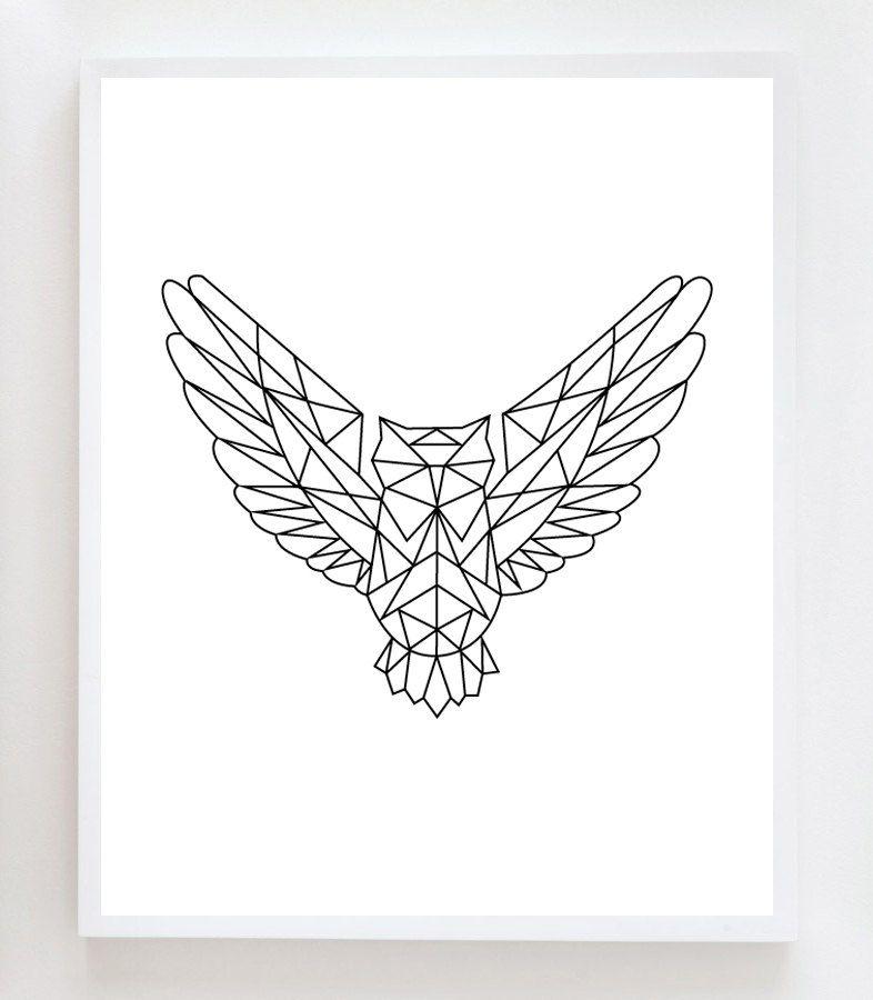 Geometric Owl Wall Art Print Van Owlyouneedisloveshop Op Etsy Deco