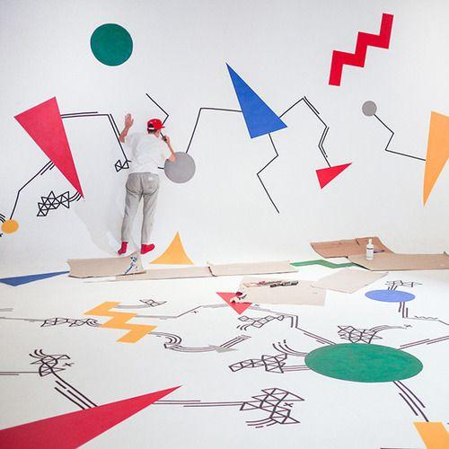Kate Moross doing a mural for Google's Big Tent