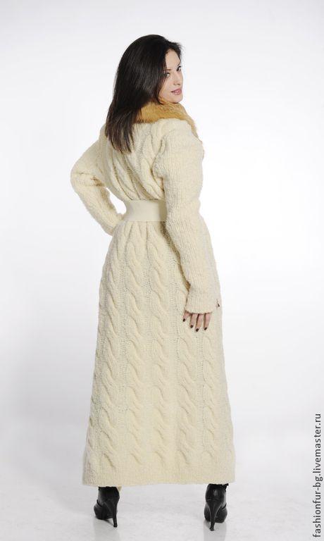 Купить вязаное пальто SnowDream - белый, однотонный, шерсть овечья, пальто вязаное