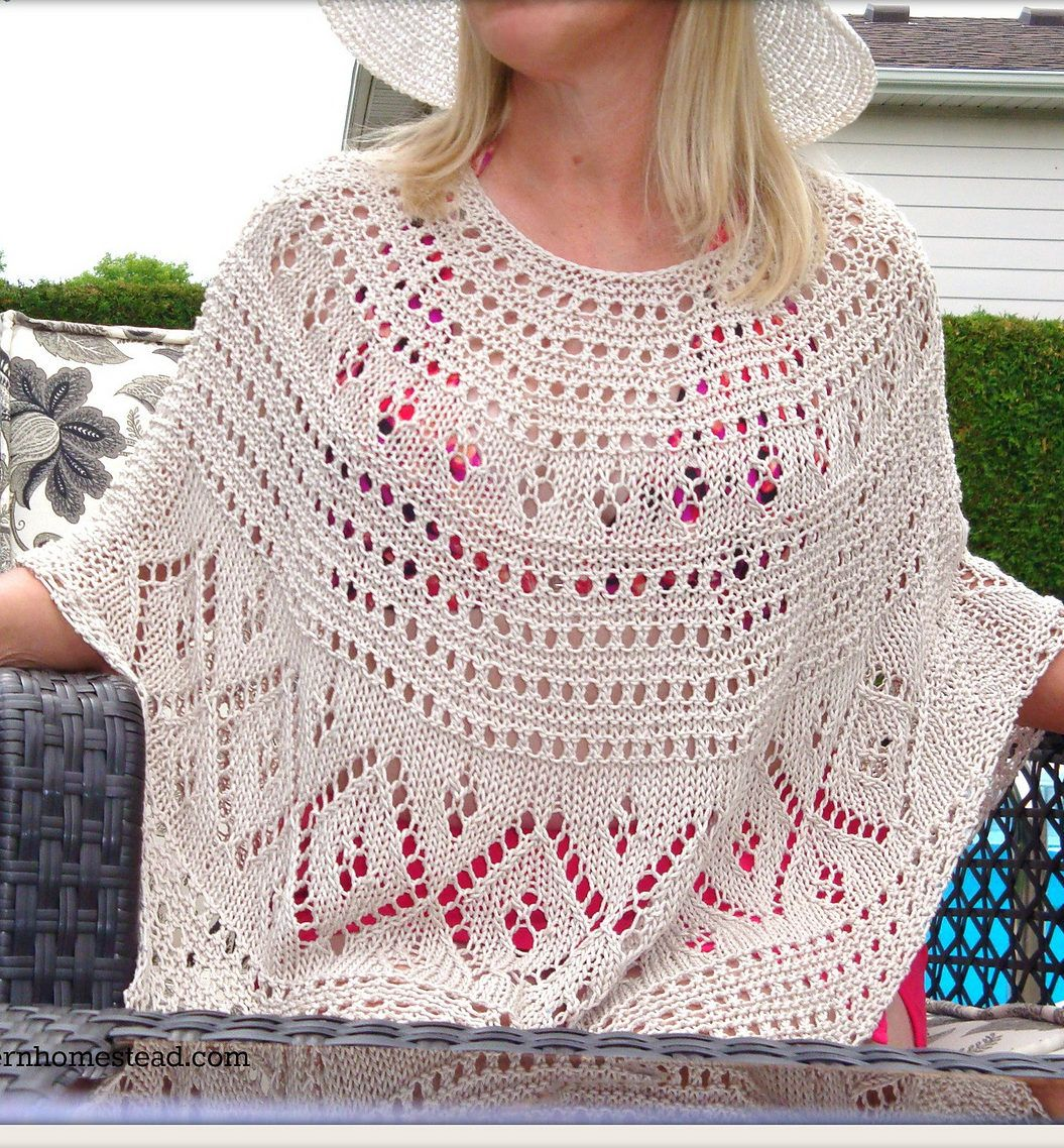 Free Knitting Pattern for Diamond Lace Poncho - Lace poncho by DROPS ...