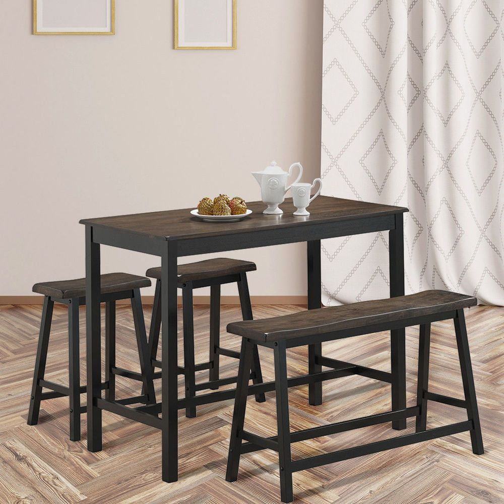 4pcs Solid Wood Counter Height Dining Table Set Saddle Stools