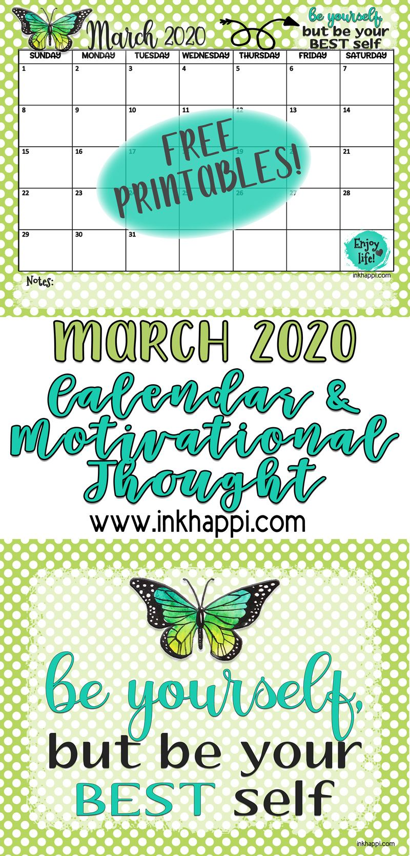 March 2020 Calendar And 30 Ideas To Be Your Best Self In 2020