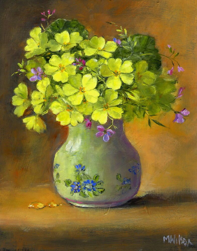 Oil Painting Marjorie Wilson Floral Still Life April Primroses Painting Oil Painting Primroses