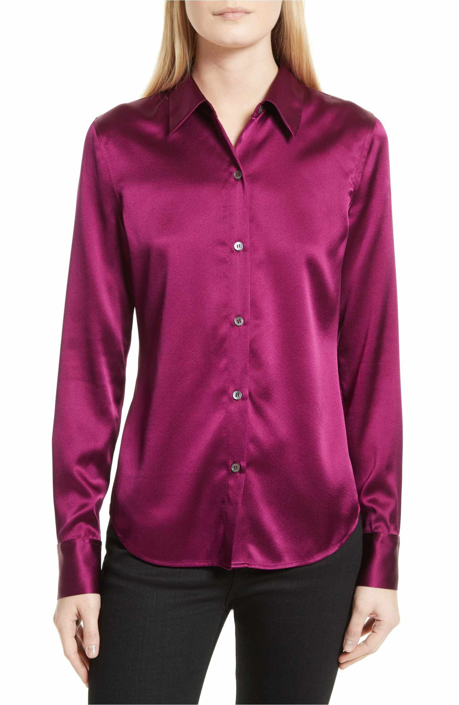 dbd0e343236 Main Image - Theory Perfect Fitted Stretch Satin Shirt | Nammy ...