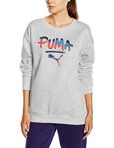 Puma Women's Fundamentals Crew Sweat Basics Top - Light Grey Heather…