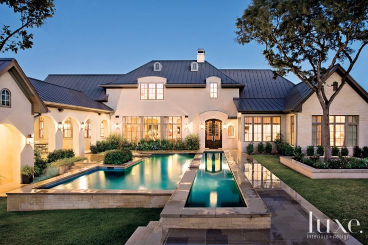 A Transitional Austin Home With A French Country Aesthetic Luxe Interiors Design French Country Exterior French Style Homes French House