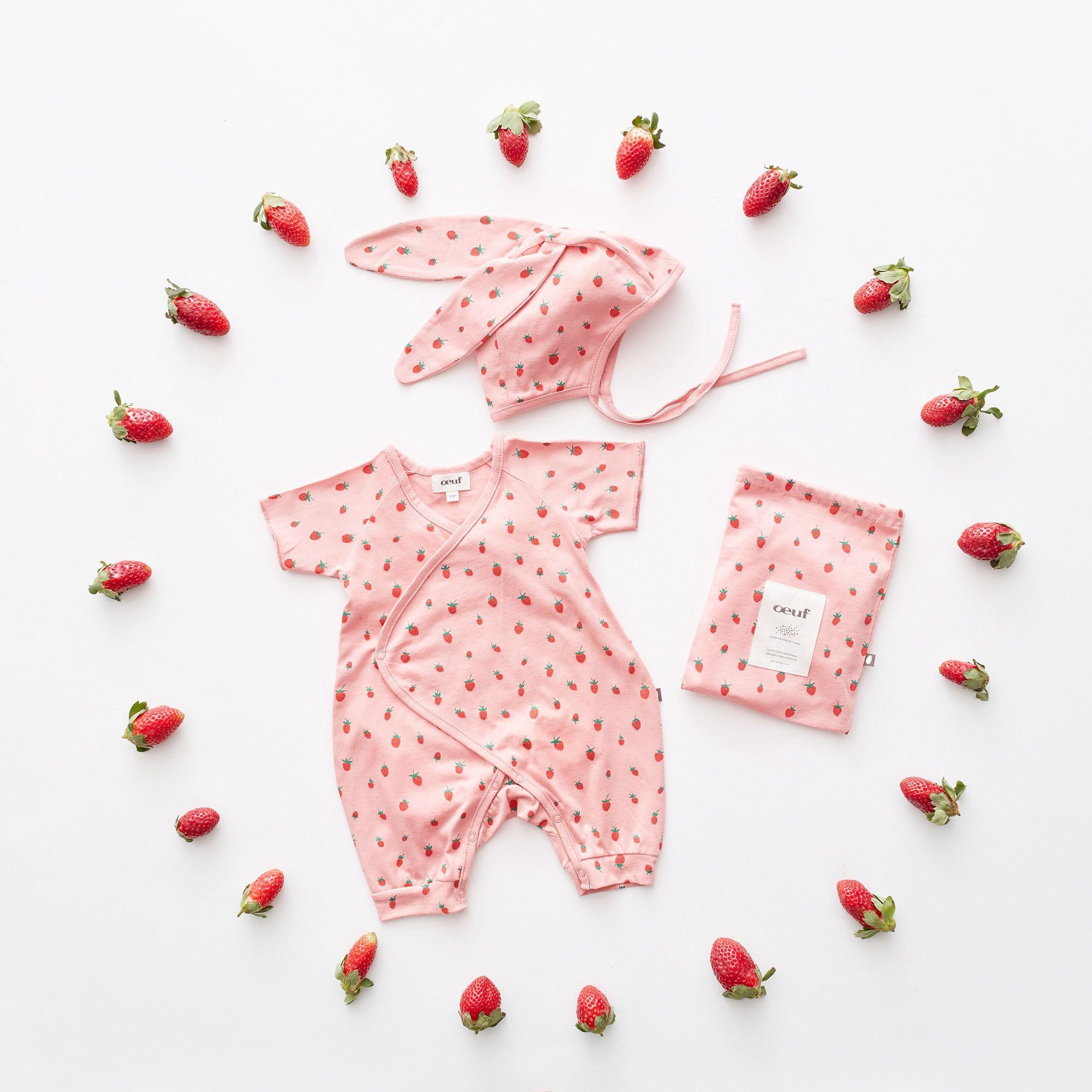 f14aa6c05 Oeuf Bunny Set-Rose/Strawberries - 0-3M   Products   Bunny hat, Baby ...